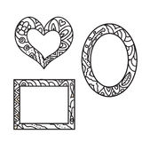 Set of Frames zentangles Royalty Free Stock Photo