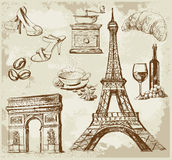 Set of france. Vector illustration with hand drawn Stock Photo