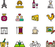 Set of France related icons Royalty Free Stock Photos