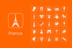 Set of France simple icons Stock Photography