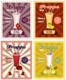 Set of frappe poster  illustrations. Stock Images