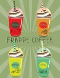 Set frappe with a taste of lime and mint cupcake strawberry Stock Images