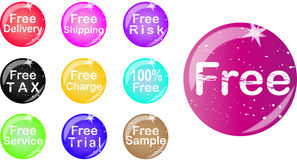 Set of free badge. Set of colorfull free badge for web Royalty Free Illustration