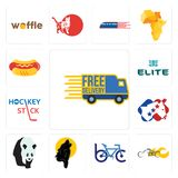 Set of free delivery, chopper, bike club, black wolf, , democrat, hockey stick, the elite, hot dog icons. Set Of 13 simple editable icons such as free delivery Royalty Free Stock Photography