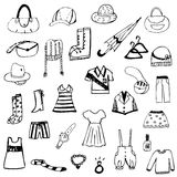 Set of free hand drawing clothes sketch vector Royalty Free Stock Photos