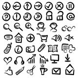 Set of free hand web icons. On white background Royalty Free Stock Photos