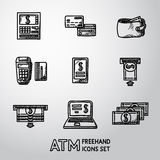 Set freehand ATM ikony z - ATM, karty Zdjęcia Royalty Free