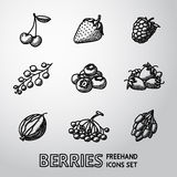 Set of freehand BERRIES icons - cherry, strawberry Royalty Free Stock Photos