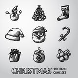 Set of freehand CHRISTMAS icons - snowman, tree Royalty Free Stock Photography