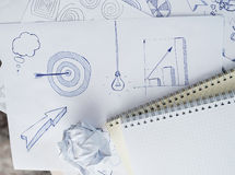 Set freehand drawing sketches on the theme of business Stock Photography