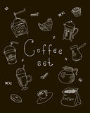 Set freehand drawing sweets bakery cafe coffee drinks doodles, vector Stock Image