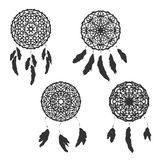 Set of freehand dreamcatchers. Ethnic vector illustration Stock Images
