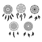 Set of freehand dreamcatchers. Ethnic vector illustration Stock Photos