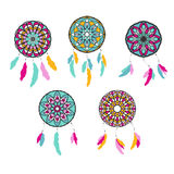 Set of freehand dreamcatchers. Ethnic vector illustration Royalty Free Stock Photos