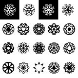 Set of freehand floral logotypes. Vector illustration isolated on white Stock Photography