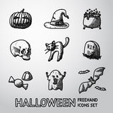 Set of freehand HALLOWEEN icons -pumpkin, witch Stock Image