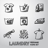 Set of freehand Laundry icons with - clean and Stock Photo