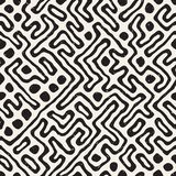 SET 50 Freehand Maze Lines I. Vector Seamless Black And White Rounded Irregular Maze Pattern. Abstract Hand Drawn Geometric Background royalty free illustration