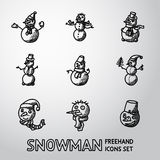 Set of freehand Snowman icons with different Royalty Free Stock Photography
