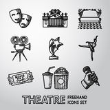 Set of freehand Theatre icons - masks, theater Royalty Free Stock Photo