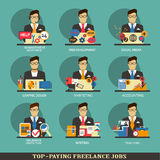 Set of freelance career icons. Stock Images