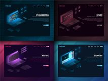 Set of Freelance Profession - Programming, Design, Writen and blogging . Can use for web banner or infographics. Freelance concept vector illustration