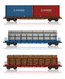 Set of freight railroad cars. Isolated over white background vector illustration
