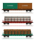 Set of freight railroad cars. Set of different freight railroad cars isolated on white background Royalty Free Stock Photography