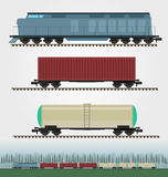 Set of freight train cargo cars. Container, tank, hopper and box Royalty Free Stock Photography