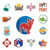 Set of french bulldog, us map, badminton, democratic party, fire station, goldfish, ap, veg, antelope icons. Set Of 13 simple editable icons such as french Royalty Free Stock Images