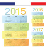 Set of French 2015, 2016, 2017 color vector calendars. Week starts from Monday Royalty Free Stock Image