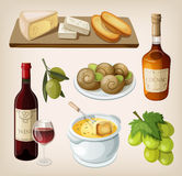 Set of french drinks and appetizers. Set of traditional french drinks and appetizers Stock Photography