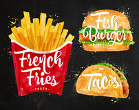 Set French fries chalk Stock Images