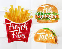 Set French fries Royalty Free Stock Images