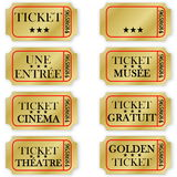 Set of french golden tickets Royalty Free Stock Photos