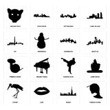 Set of french horn, dubai, stork, karate kick, minnesota, dc, pittsburgh, jaguar face icons. Set Of 16 simple editable icons such as french horn, dubai, lips Stock Images