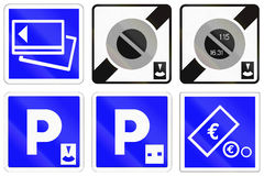 Set of French information road signs Royalty Free Stock Photo