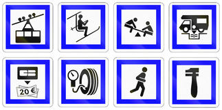 Set of French information road signs.  Royalty Free Stock Image