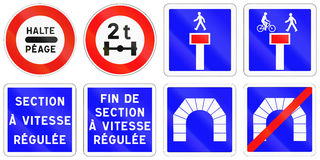 Set of French regulatory road signs Royalty Free Stock Photos