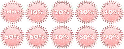 Set of french winter sale icons Stock Photo