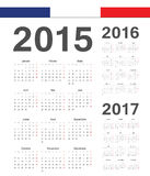 Set of French 2015, 2016, 2017 year vector calendars. Set of simple French 2015, 2016, 2017 year vector calendars. Week starts from Monday royalty free illustration