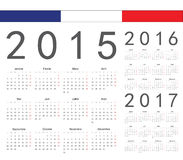 Set of french 2015, 2016, 2017 year vector calendars. Week starts from Monday vector illustration
