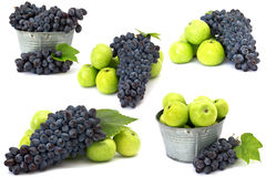 Set of fresh apples and grape  on white Royalty Free Stock Image