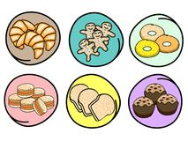 A Set of Fresh Bakery on Round Background Royalty Free Stock Images