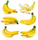 Set fresh banana fruits isolated on white stock photo