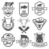 Set of fresh beef labels. Butchery shop emblems.  Design element Royalty Free Stock Image