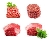 Set of Fresh beef slab with dill , ground beef Royalty Free Stock Photography