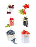 Set of fresh berries fruits isolated on white Stock Photos