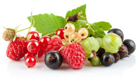 set fresh berries with green leaf Stock Image