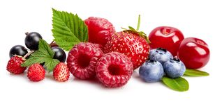 Set fresh berry. Mix summery fruit raspberry royalty free stock images